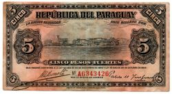 1923 - 5 Pesos - Cédula Paraguai