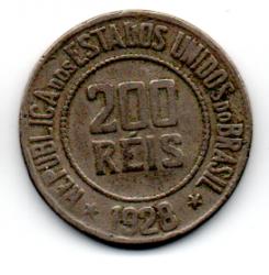 1928 - 200 Réis - Moeda Brasil - Estado de Conservação: Muito Bem Conservada (MBC)