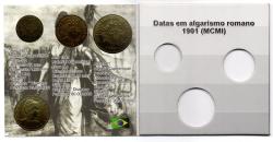 Cartela Vazia - para Moedas MCMI (1901) - 100, 200 e 400 Réis - VAZIA - 10cm x 10cm