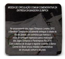 Cartela Vazia - para uma Moeda de 1 Real da Bandeira Olímpica - VAZIA