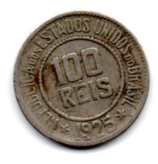 1925 - 100 Réis - Moeda Brasil - Estado de Conservação: Bem Conservada (BC)