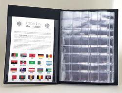 Álbum Moedas do Mundo c/ 193 Etiquetas dos Países Reconhecidos pela ONU + Lista Controle