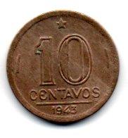 1943 - 10 Centavos - Níquel Rosa - Moeda Brasil - Estado de Conservação: Soberba (Sob)