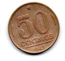 1943 - 50 Centavos - Níquel Rosa - Moeda Brasil - Estado de Conservação: Soberba (Sob)