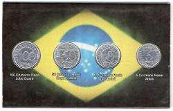 Cartela com 4 moedas do Cruzeiro Real