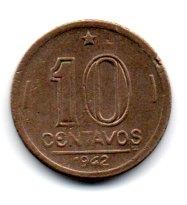 1942 - 10 Centavos - Níquel Rosa - Moeda Brasil - Estado de Conservação: Soberba (Sob)