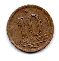 1943 - 10 Centavos - Níquel Rosa - Moeda Brasil - Estado de Conservação: Muito Bem Conservada (MBC)