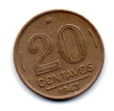 1943 - 20 Centavos - Níquel Rosa - Moeda Brasil - Estado de Conservação: Soberba (Sob)