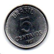1987 - 5 Centavos - Moeda Brasil - Estado de Conservação: Soberba ou Superior