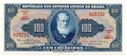 C036 - 100 Cruzeiros - 1° Estampa - Série 1387 - D. Pedro II - Data:1964 - Fe (Flor de Estampa)