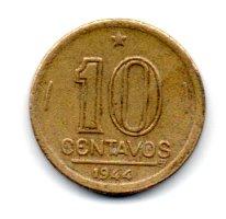 1944 - 10 Centavos - COM Sigla OM no Anverso - Moeda Brasil - Estado de Conservação: Muito Bem Conservada (MBC)