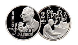2003 - 2 Reais - Comemorativa Centenário Ary Barboso - No encarte Oficial - Moeda Brasil - Prata .925 - Aprox. 27g - 40mm