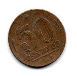 1943 - 50 Centavos - Níquel Rosa - Moeda Brasil - Estado de Conservação: Bem Conservada (BC)
