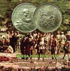 Cartela Vazia - P/ Moeda 2000 Réis - 1932 - 4º Centenário da Colonização Vicentina do Brasil
