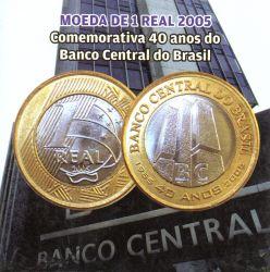Cartela Vazia - P/ Moeda de 1 Real 2005 - Comemorativa 40 anos do Banco Central do Brasil - c/ capa