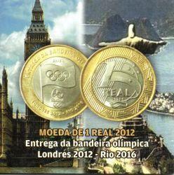 Cartela Vazia - P/ Moeda de 1 Real 2012 - Entrega da Bandeira Olímpica Londres 2012 - Rio 2016  - c/ capa