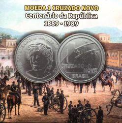 Cartela Vazia - P/ Moeda 1 Cruzado Novo - Centenário da República 1889 - 1989 - c/ capa