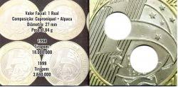 Cartela Vazia - P/ Moedas de 1 Real Efígie da República 1998 e 1999