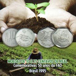 Cartela Vazia - P/ Moedas de 10 e 25 Centavos - FAO - Alimentos para Todos - VAZIA
