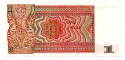 Myanmar - 1 Kyat - Cédula Flor de Estampa