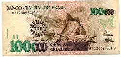 C235 -  100 Cruzeiros Reais (Carimbo sob - 100000 Cruzeiros) - Beija Flor - Data: 1993 - Estado de Conservação: Mbc/Sob