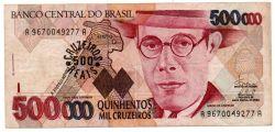 C236 -  500 Cruzeiros Reais (Carimbo sob - 500000 Cruzeiros) - Mário de Andrade - Data: 1993 - Estado de Conservação: MBC/Sob