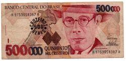 C236 -  500 Cruzeiros Reais (Carimbo sob - 500000 Cruzeiros) - Mário de Andrade - Data: 1993 - Estado de Conservação: Muito Bem Conservada: (MBC)