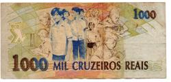 C238 - 1000 Cruzeiros Reais - Anísio Teixeira - Data: 1993 - Estado de Conservação: Muito Bem Conservada (Mbc)