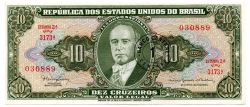 C114 - 1 Centavo (Carimbo sob 10 Cruzeiros) - 2° Estampa - Série Aleatória - Getúlio Vargas - Data: 1967 - Estado de Conservação : Soberba (Sob)