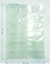 10 Folhas de 24 Espaços  p/ Moedas - Com Abas - Material: PVC