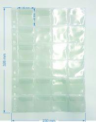 20 Folhas de 24 Espaços  p/ Moedas - Com Abas - Material: PVC