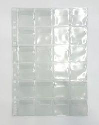 50 Folhas de 24 Espaços  p/ Moedas - Com Abas - Material: PVC