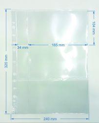 50 Folhas de 3 Espaços p/ Cédulas - Cabe Etiquetas - Material: Acetato
