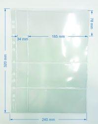 20 Folhas de 4 Espaços p/ Cédulas - Cabe Etiquetas - Material: Acetato