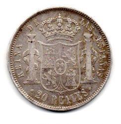 Espanha - 1855 - 20 Reales - Madrid - Prata .900 - Aprox. 26.3g - 30mm
