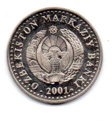 Uzbequistão - 2001 - 50 Som - Comemorativa - 10º Aniversário da Independência do Uzbequistão - Sob