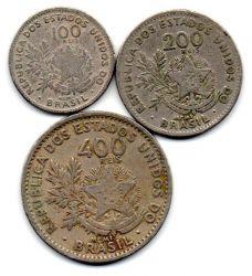 PROMOÇÃO!!! 1901 - Série MCMI - 100 - 200 - 400 Réis - Lote com as 3 Moedas - Bc