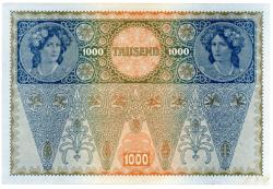 1919 - 1000 Kronen - Carimbo (DEUTSCHÖSTERREICH - Áustria Alemã) - GRANDE - Cédula Áustria