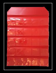 Estojo Cartela P/ 25 Moedas Dobrável Cabe Coin Holder - Cor Vermelha