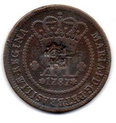 1787 - XL Réis - C/ Carimbo Escudete - Coroa Alta - Moeda Brasil Colônia
