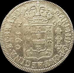 1790 - 160 Réis - Coroa Alta - Prata - Moeda Brasil Colônia