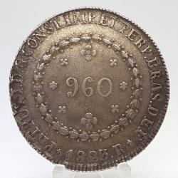 1823R - 960 Réis - 29 Tulipas - Prata - Patacão - Moeda Brasil Império