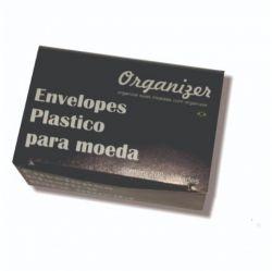 Caixa c/ 100 Envelopes de Plástico p/ Moedas