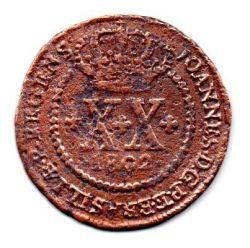 1802R - XX Réis - Coroa Baixa - Moeda Brasil Colônia
