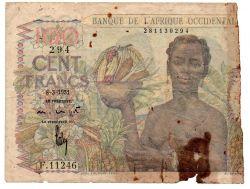 África Ocidental Francesa - 100 Francs - UTG / Rasgada / Metade