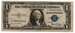 Estados Unidos - 1935D - 1 Dollar - Selo Azul - Bc / Rasura lápis
