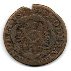 1698 - PPPP - XX Réis - Reverso sem Pontuação - Casa da  Moeda do Porto - Cunhada para Angola - Mandadas para Circular no Brasil - Moeda Brasil Colônia