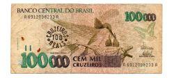 C235 -  100 Cruzeiros Reais (Carimbo sob - 100000 Cruzeiros) - Beija Flor - Data: 1993 - Estado de Conservação: Bem Conservada (BC)