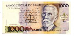 C199 - 1 Cruzado Novo (Carimbo sobre 1000 Cruzados) - Machado de Assis - Data: 1989 - Estado de Conservação: Soberba (Sob)