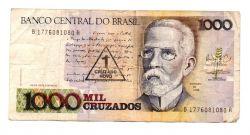 C199 - 1 Cruzado Novo (Carimbo sobre 1000 Cruzados) - Machado de Assis - Data: 1989 - Estado de Conservação: Muito Bem Conservada (MBC)